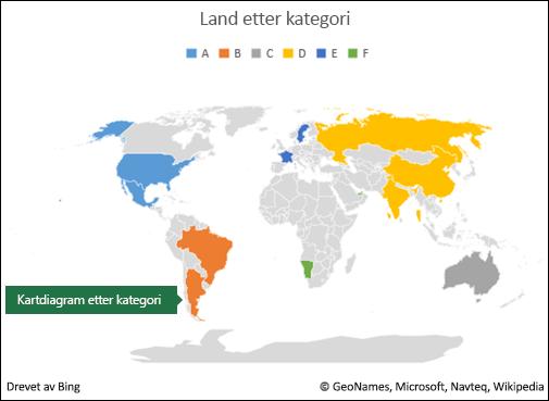 Excel kartdiagram etter kategori