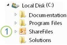 Delt mappe-ikon i Windows Utforsker