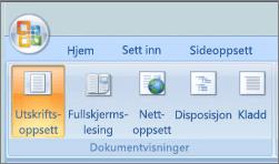 Skjermbildet viser gruppen dokumentvisninger med alternativet Utskriftsoppsett valgt. Andre tilgjengelige alternativene er fullskjermlesing, weboppsett, disposisjon og kladd.