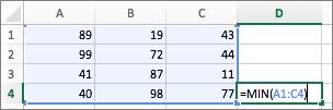 Eksempel som viser bruk av funksjonen MIN