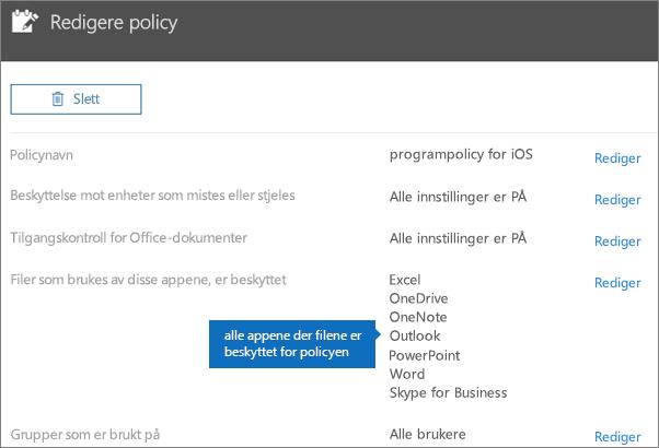 Viser alle appene som denne policyen beskytter filer for.
