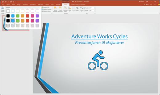 I PowerPoint 2016 kan du endre utseendet på SVG-bilder med stilgalleriet