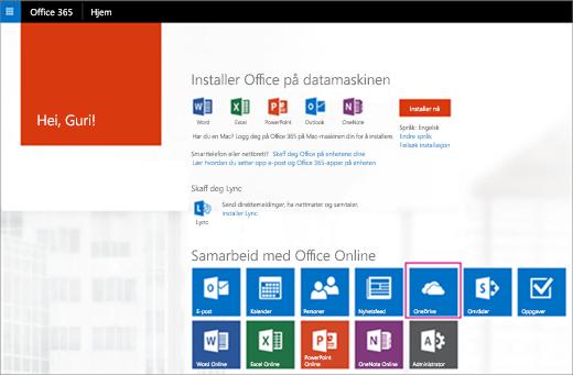 Velge OneDrive-flisen fra startprogram for apper.