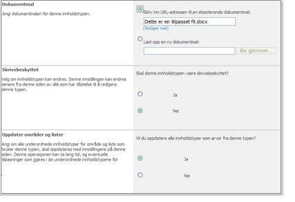 Vinduet Avanserte innstillinger for innholdstype
