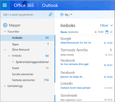 Primærvisning for Outlook på nettet