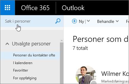 Skjermbilde av Personer-skjermen, der boksen Søke etter personer er valgt.