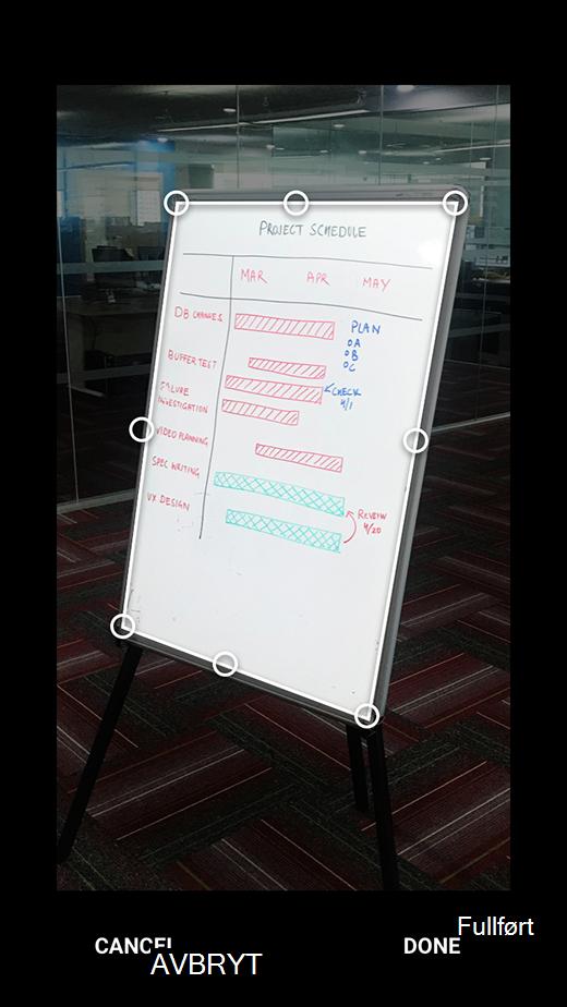 Bilde beskjæring i Office Lens for Android