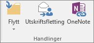 Knappen Utskriftsfletting er på Hjem-fanen i Handlinger-gruppen