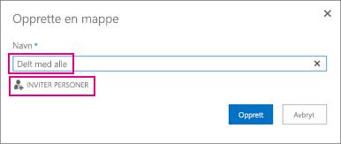 Velge mappen Delt med alle i OneDrive