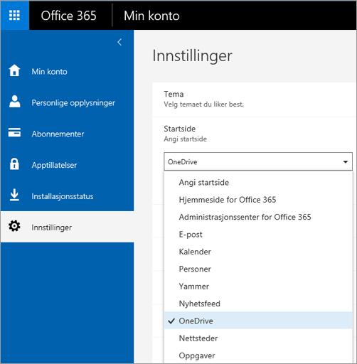 Endre startsiden for Office 365