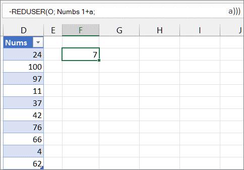 Tredje eksempel på REDUSER-funksjonen