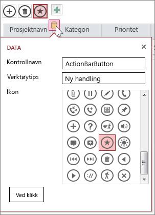 Dialogboksen Data for en egendefinert handling i et webdataark