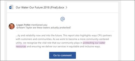 En kommentar som ble mottatt i e-post med alternativ for å gå til å se kommentaren i den faktiske filen