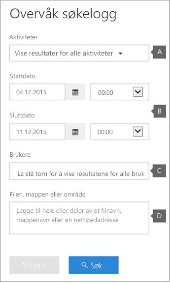 Konfigurer kriterier og klikk deretter Søk for å kjøre rapport.