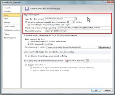 Angi innstillinger for automatisk gjenoppretting eller automatisk lagring