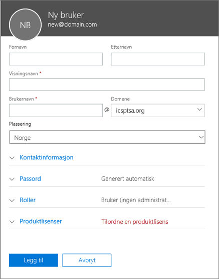 Skjermbilde av felt som må fylles ut når du legger til en bruker i Office 365 for bedrifter