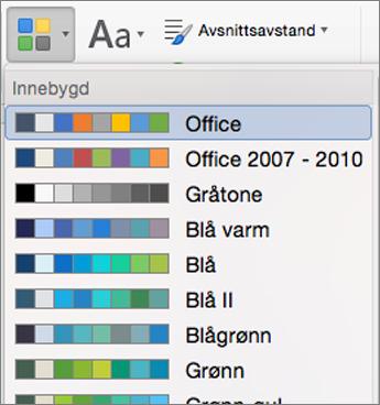 Farge alternativer når du klikker farger-knappen