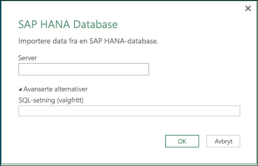 Excel Power BI SAP HANA databaseimportdialogboks