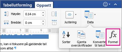 Klikk Data på Oppsett-fanen for å vise menyen, og klikk Formel.