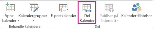 Del kalender-knappen på Hjem-fanen i Outlook 2013