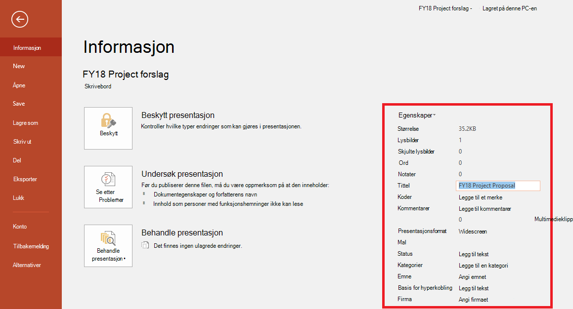 Dokumentegenskaper for Office – Fil > Informasjonspanel