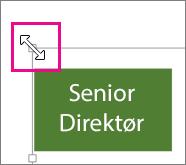 Dra skaleringshåndtaket i hjørnet for å endre størrelsen på diagrammet
