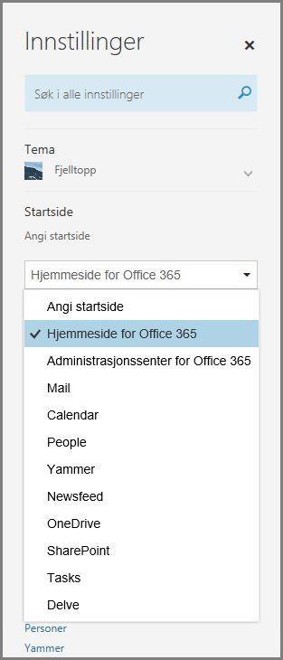 Endre startsiden i Office 365