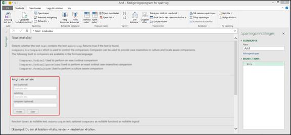 Excel Power BI innebygde Inndata-kontroller for funksjonsanrop innenfor redigeringsprogrammet for spørring