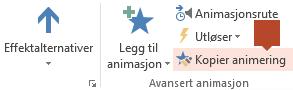 Kopier animering er tilgjengelig på verktøylinjebåndet Animasjon når noe som er animert, er valgt på et lysbilde.
