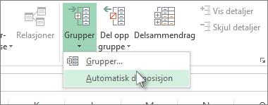 Klikk pilen under Grupper, og klikk deretter Automatisk disposisjon