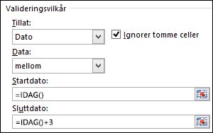 Innstillinger for valideringsvilkår for å begrense datooppføring til en bestemt tidsramme