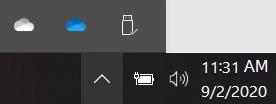 Personlige OneDrive-og jobb-eller skole synkroniserings ikoner.