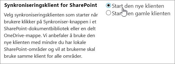 Administratorinnstillinger for synkroniseringsklienten for OneDrive