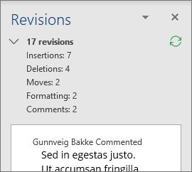 Korrektur vindu med detaljerte revisjoner