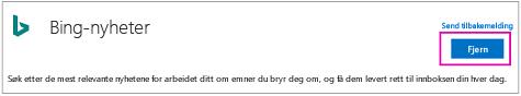Fjern-knappen på Bing nyheter-kobling