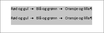 Tekst som skal konverteres til tabell