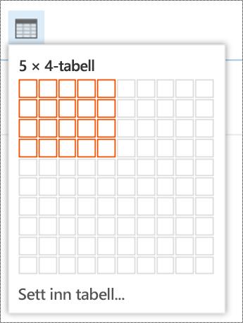 Legge til en enkel tabell i Outlook på nettet.