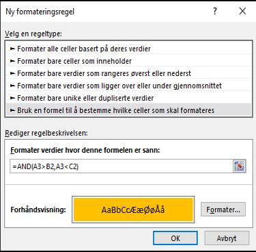 Betinget formatering > Rediger regel-dialogboksen som viser formelmetoden