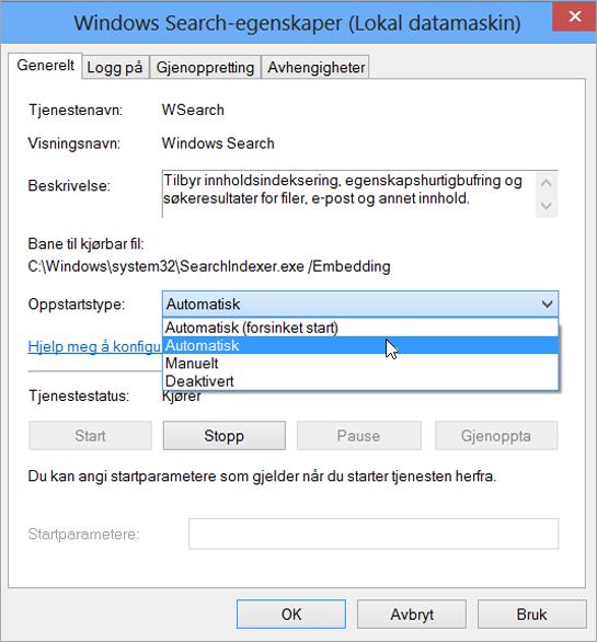 Skjermbilde av dialogboksen Egenskaper for Windows Search viser innstillingen automatisk valgt for oppstartstype.