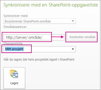 Lagre prosjektet til SharePoint