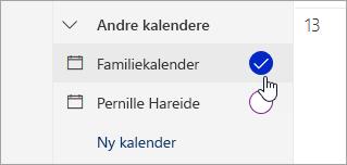Et skjermbilde av familie kalender i ruten til venstre