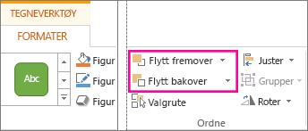 Alternativene Flytt fremover og Send bakover i kategorien Format under Tegneverktøy