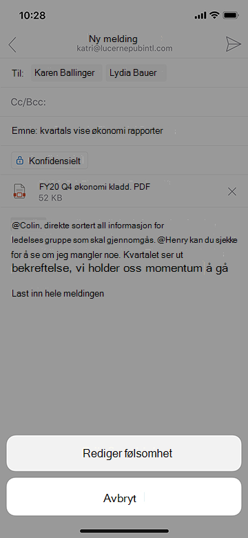 Redigere følsomhet i Outlook Mobile