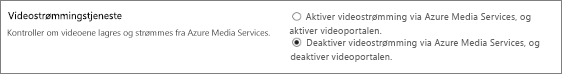 Deaktiver Office 365 Video-innstillingen i administrasjonssenteret for SharePoint Online