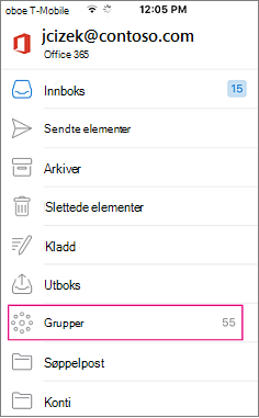 Grupper er en node i mappelisten i Outlook mobile