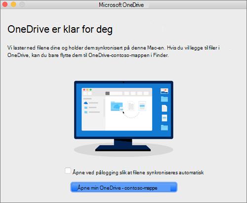 Skjermbilde av den siste skjermen i veiviseren Velkommen til OneDrive på Mac