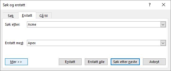 Dialogboksen Søk og erstatt i Outlook.