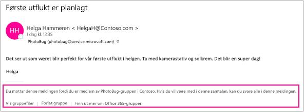 Alle e-postmeldinger gjesten mottar fra gruppemedlemmene, har en bunntekst med instruksjoner og koblinger