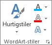 WordArt Style-gruppen viser bare ikoner