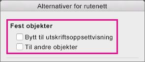 Hvis du vil deaktivere Fest til, fjerner du merket for alternativene under Fest objekter.